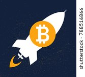 flying bitcoin rocket sign icon ... | Shutterstock .eps vector #788516866