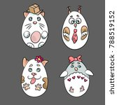 set with 4 cute animals in a... | Shutterstock .eps vector #788519152