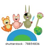 funny creatures are jumping | Shutterstock .eps vector #78854836