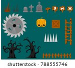 collection of various objects... | Shutterstock .eps vector #788555746