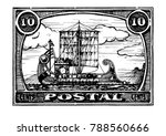 grunge postage stamp with... | Shutterstock .eps vector #788560666