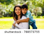 mother and son outdoor... | Shutterstock . vector #788573755