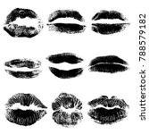 print of black gothic lips set. ... | Shutterstock .eps vector #788579182
