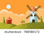 cartoon farm field green... | Shutterstock .eps vector #788580172