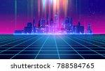 retro futuristic skyscraper... | Shutterstock . vector #788584765