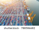 aerial view of containers yard  ... | Shutterstock . vector #788586682