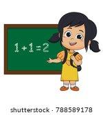 kid learing math in class...   Shutterstock .eps vector #788589178