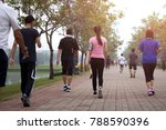 group of people exercise... | Shutterstock . vector #788590396