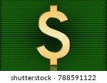 golden us digital dollar symbol ... | Shutterstock . vector #788591122