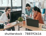 team of young business... | Shutterstock . vector #788592616