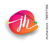 letter jh logo with colorful...