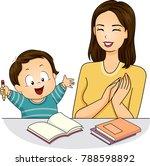 illustration of a mom praising... | Shutterstock .eps vector #788598892
