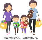 illustration of stickman family ... | Shutterstock .eps vector #788598976