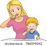 illustration of a mom brushing... | Shutterstock .eps vector #788599042