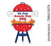 smoky fiery bbq grill with 26... | Shutterstock .eps vector #788613076