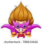 cartoon superhero girl flying | Shutterstock .eps vector #788614666