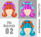 70s vintage hairstyle set  ... | Shutterstock .eps vector #788621725