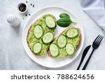 toasts with mashed avocado and...   Shutterstock . vector #788624656