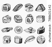 vector set of sketch sushi... | Shutterstock .eps vector #788631142