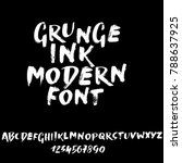handdrawn dry brush font.... | Shutterstock .eps vector #788637925