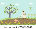 dog walking. a woman and a dog. ...   Shutterstock .eps vector #788638042