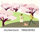 dog walking.scenery of cherry... | Shutterstock .eps vector #788638582