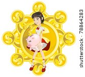 Wealth Rich Girl Holding Piggy...
