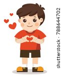 a cute boy making heart shape... | Shutterstock .eps vector #788644702