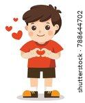 a cute boy making heart shape... | Shutterstock .eps vector #788644702