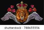 embroidery lion in crown  angel ... | Shutterstock .eps vector #788655556