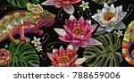 embroidery chameleon and water... | Shutterstock .eps vector #788659006