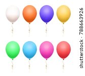 colorful realistic balloons set.... | Shutterstock .eps vector #788663926
