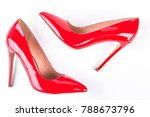 woman red lacquered shoes on... | Shutterstock . vector #788673796