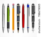 set of pens and pencils  tools...   Shutterstock .eps vector #788678005