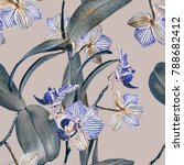 Stock photo orchid seamless pattern watercolor illustration hand painted background 788682412