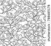 magnolia outline spring pattern.... | Shutterstock .eps vector #788685178