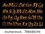 golden ribbon alphabet on black ... | Shutterstock .eps vector #788688196