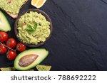 guacamole with ingredients  ... | Shutterstock . vector #788692222