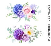 Stock vector violet blue and purple hydrangea rose iris carnation bell flower eucalyptus and greenery 788701036