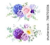 Stock vector violet blue and purple hydrangea rose iris carnation bell flower eucalyptus and greenery 788701036