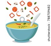 hot bowl of soup  dish isolated ... | Shutterstock .eps vector #788709682