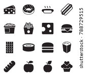 solid black vector icon set  ... | Shutterstock .eps vector #788729515