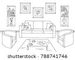 living room graphic black white ... | Shutterstock .eps vector #788741746