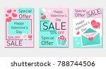 happy valentine's day set flyer ... | Shutterstock .eps vector #788744506