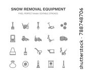 snow removal flat line icons.... | Shutterstock .eps vector #788748706
