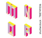 bright isometric font with...