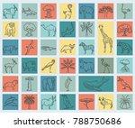 flat african flora and fauna ... | Shutterstock .eps vector #788750686