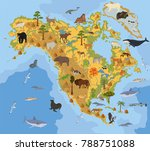 north america flora and fauna... | Shutterstock .eps vector #788751088