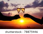 man and woman clanging wine... | Shutterstock . vector #78875446