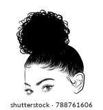 hand drawn black woman with... | Shutterstock .eps vector #788761606